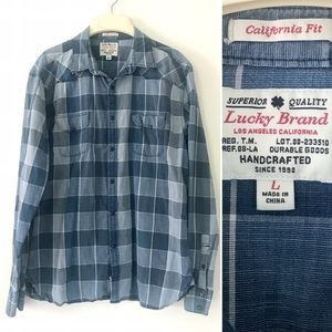 Lucky Brand chambray plaid western pearl shirt
